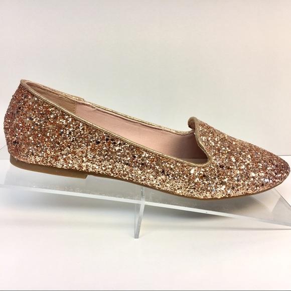 Restock Rose Gold Glitter Loafer Flats